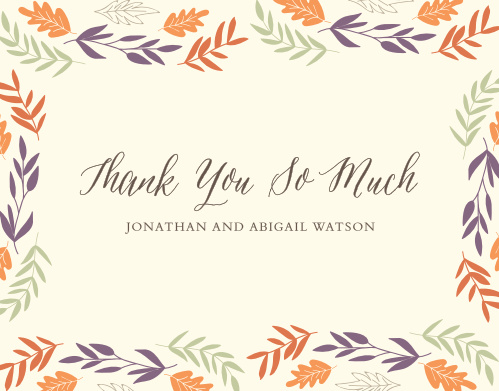Finish your truly custom wedding stationery with the Fall Harvest Thank You Cards.