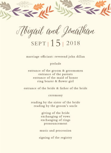 Keep your autumn-themed wedding on track with the Fall Harvest Wedding Programs.