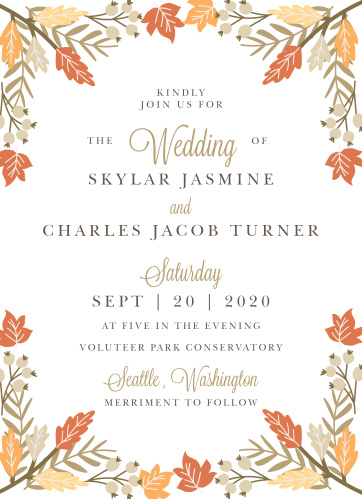 Gorgeous autumn foliage frames your text on the Falling Leaves Wedding Invitations.