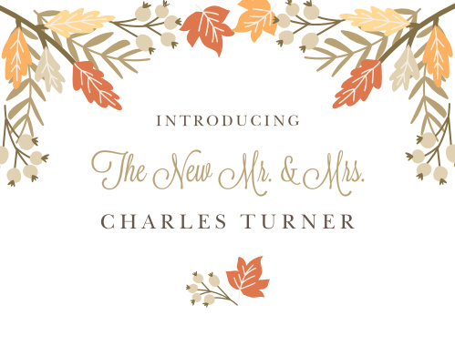 Send your first mail as a wedded couple with the Falling Leaves Thank You Cards.