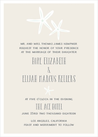 Invite guests to your summer wedding with the Starfish Beach Wedding Invitations.