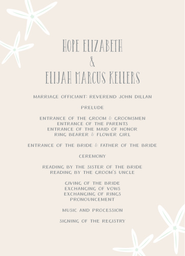 Playful starfish in the corners of the Starfish Beach Wedding Programs and fun, relaxed feeling.