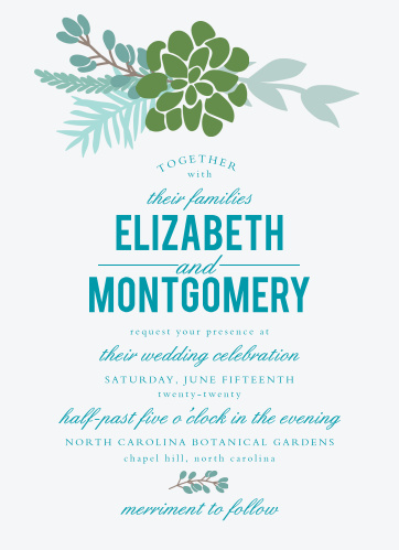 Pretty greenery adorns the top of the Sunny Succulents Wedding Invitations.