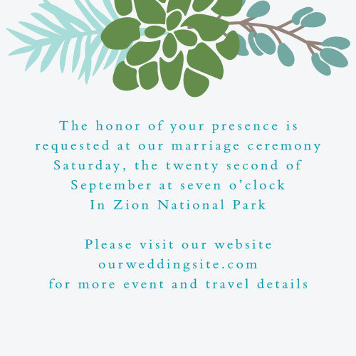 Pretty greenery graces the top of the Sunny Succulents Ceremony Cards.