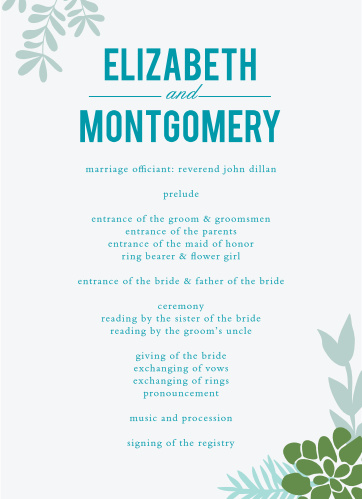Organize and set the tone for your wedding ceremony with the graceful greenery of the Sunny Succulents Wedding Programs.