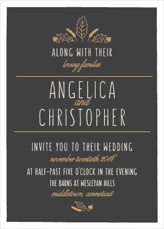 Elegant Autumn Foil Wedding Invitations
