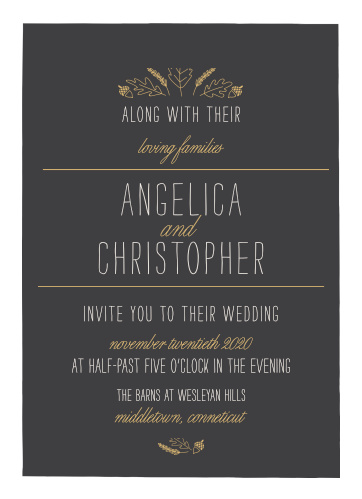 Invite friends and family to your fall wedding with the Elegant Autumn Foil Wedding Invitations.