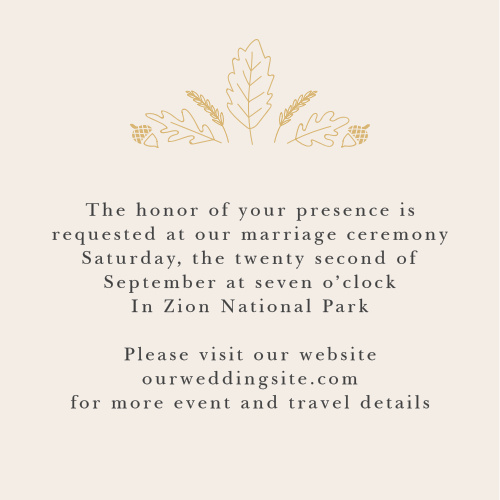 Festive fall foliage tops your text on the Elegant Autumn Foil Ceremony Cards.