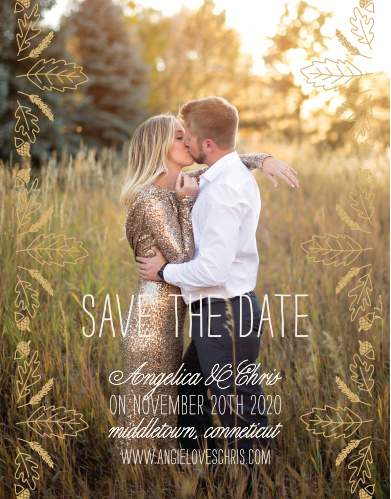 Prepare friends and family for your fall wedding with the Elegant Autumn Foil Save-the-Date Cards.
