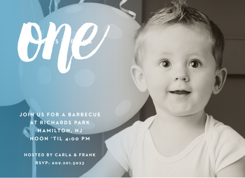 A sophisticated ombre effect over your son's picture adds a splash of color to the Fading Color Boy First Birthday Invitations.