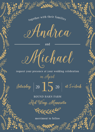 Whimsical greenery surrounds your text on the Romantic Evergreen Foil Wedding Invitations.