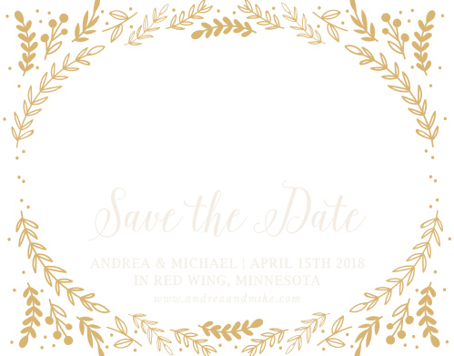 Whimsical greenery surrounds your photo on the Romantic Evergreen Foil Save-the-Date Cards.