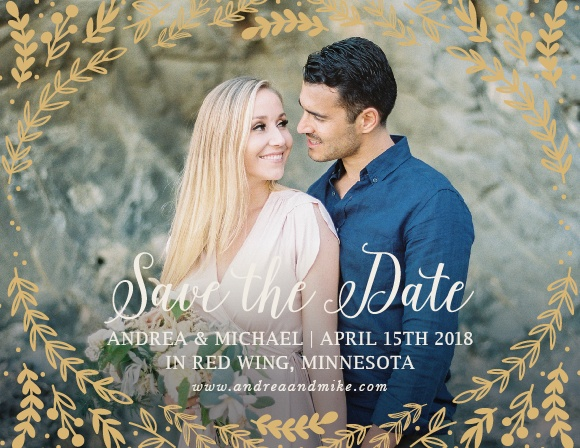 Whimsical greenery surrounds your photo on the Romantic Evergreen Foil Save-the-Date Magnets.