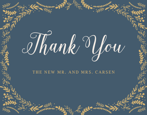 Finish your whimsical winter wedding with the Romantic Evergreen Foil Thank You Cards.
