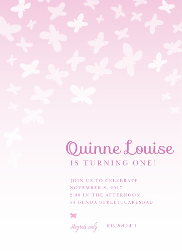 A graceful ombre hosts a kaleidoscope of butterflies on the Beautiful Butterflies First Birthday Invitations.