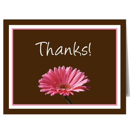 The Classic Gerber Daisy thank you card is the perfect way to tell your guests thanks for being a part of your special day!