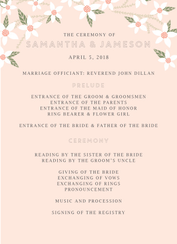 The Darling Daisies Wedding Programs are an easy way to keep your ceremony on schedule.