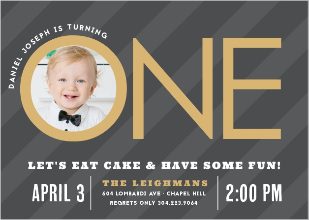 Invite friends and family to a party with the Candy Stripe Foil First Birthday Invitations.