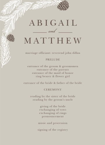 Rustic boughs and pinecones festoon a corner on both sides of the Pretty Pinecones Wedding Programs.