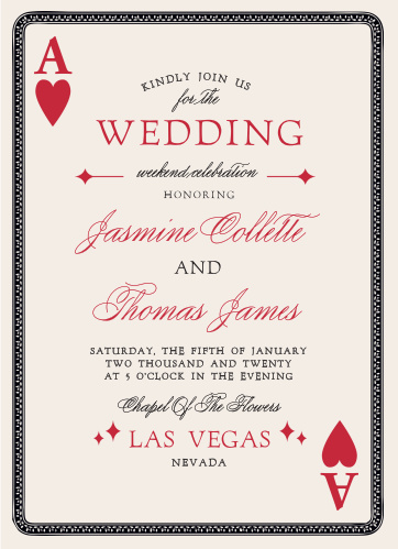 You're betting on a winner with the Lady Luck Wedding Invitations.