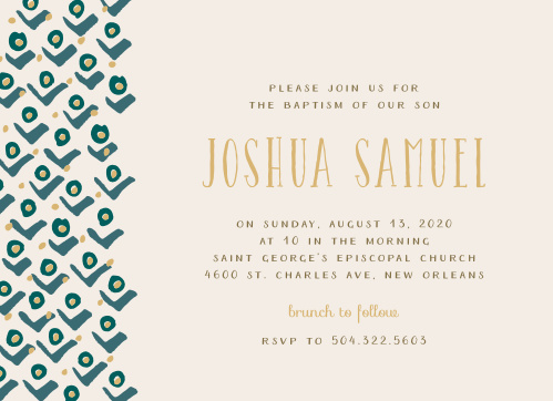 A stylized pattern of rosebuds cascades down the left-hand side of the Blushing Buds Foil Boy Baptism Invitations.
