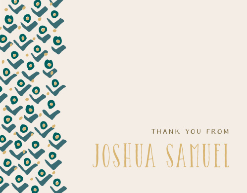 The Blushing Buds Foil Boy Thank You Cards feature a pattern of stylized rosebuds cascading down their left-hand side.