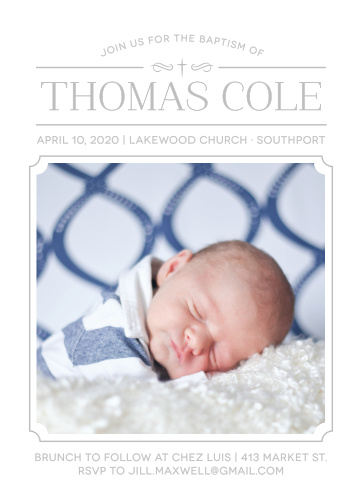 Invite friends and family to celebrate your son's baptism or christening with the Classic Cross Foil Boy Baptism Invitations.