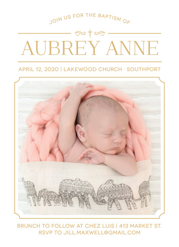 Invite friends and family to celebrate your daughter's baptism or christening with the Classic Cross Foil Girl Baptism Invitations.
