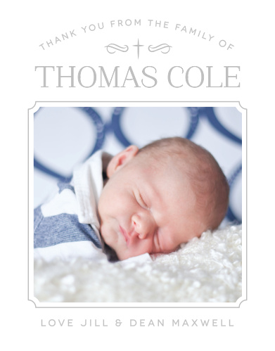 Match your thank you cards to your baptism invitations with the Classic Cross Boy Foil Baptism Thank You Cards.