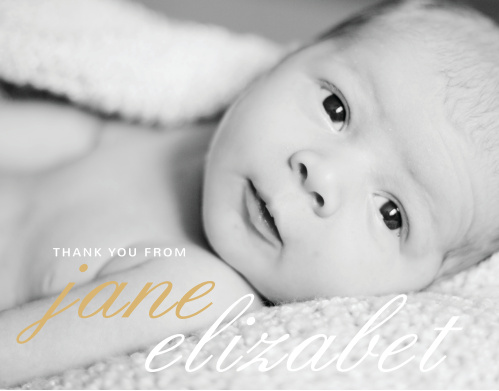 Use your child's photo as the background to La Moderne Foil Thank You Cards.
