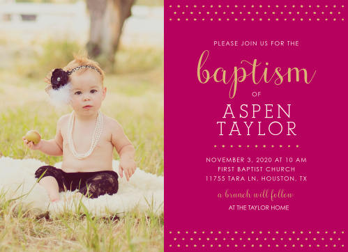 Make your daughter the star of the Polka Dot Border Girl Baptism Invitations.