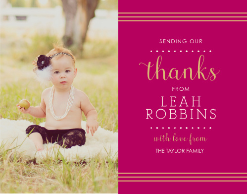 Thank all the friends and family who celebrated your child's baptism or christening with the Polka Dot Border Foil Girl Thank You Cards.