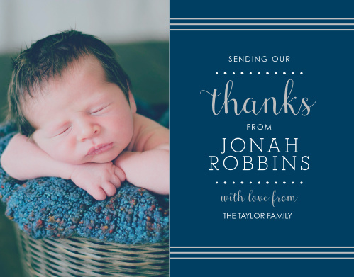 Thank all the friends and family who celebrated your child's baptism or christening with the Polka Dot Border Foil Boy Thank You Cards.