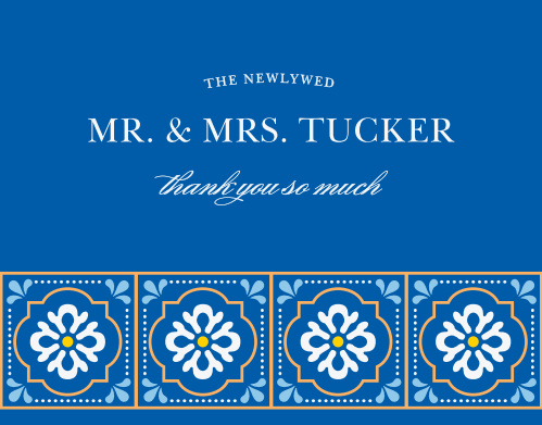 Finish your wedding stationery with the vibrant colors and stylized florals of the Spanish Tile Thank You Cards.