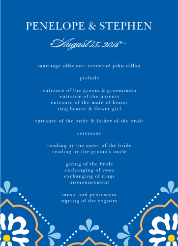Vibrant colors and stylized florals make the Spanish Tile Wedding Programs an unforgettable way to organize your wedding.