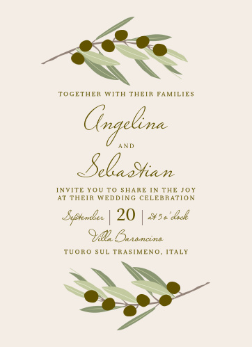 Invite friends and family to your destination wedding with the Mediterranean Romance Wedding Invitations.