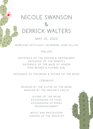 Organize your desert ceremony with the Prickly Pear Wedding Programs.