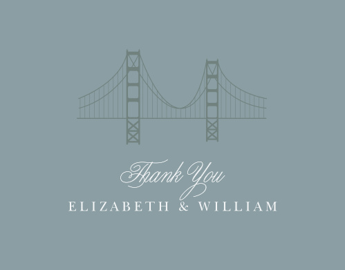 Thank the friends and family who attended your California Wedding with the Golden Gate Thank You Cards.