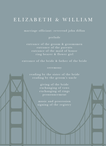 Customize programs for your California wedding with the Golden Gate Wedding Programs.
