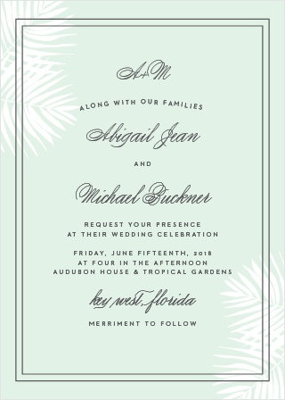 Delicate palm fronds peek from the corners of the Palm Beach Wedding Invitations.
