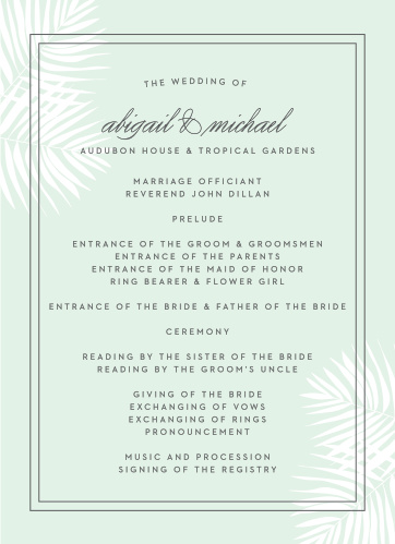 Delicate palm fronds peak at the corners of the Palm Beach Wedding Programs.