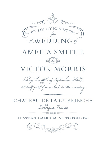 Regal swirls and embellishments accent the text on the Old World Winery Wedding Invitations.