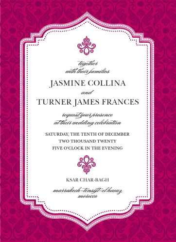 Rich details and opulent fonts give the Moroccan Frame Wedding Invitations a luxurious feel.