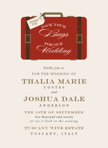 Tell guests to pack their bags for your luxury, destination wedding with the Lavish Luggage Wedding Invitations.