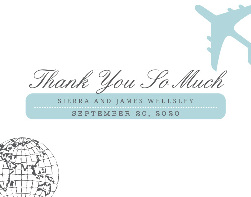 Finish your truly custom wedding stationery with the Bon Voyage Thank You Cards.