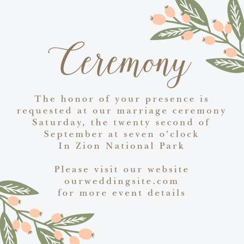 The Spring Berries Ceremony Cards are an excellent way to incorporate additional wedding details into your wedding stationery.