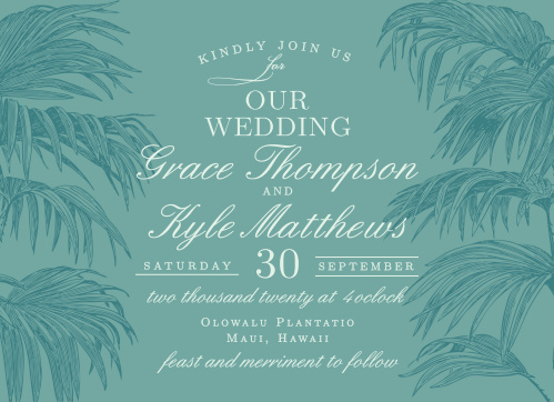 Create beautiful invites for your tropical destination wedding with the Palms of Paradise Wedding Invitations.