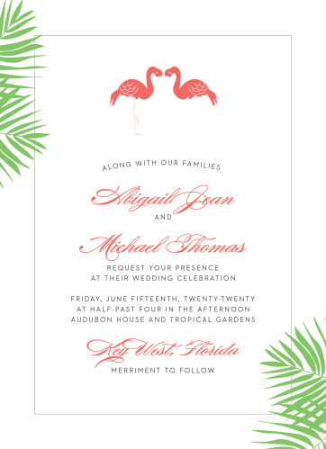 The Tropical Flamingo Wedding Invitations' carefree design is perfect for a summer destination wedding.
