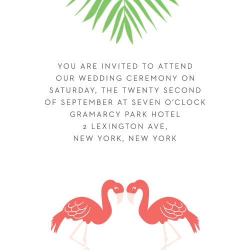 The Tropical Flamingo Ceremony Cards are small enclosure cards ideal for a carefree destination wedding.