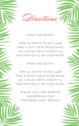 Help guests find your destination wedding venue with the Tropical Flamingo Direction Cards.
